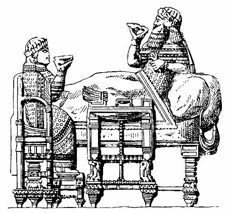 Assyriska möbler, kung Asarhaddons fest, Nordisk familjebok