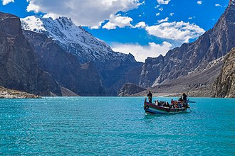 Attabad Lake - The lake's waters are turquoise in spring and early summer as meltwater from nearby mountains deposits glacial silt that settles over the course of the summer