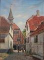 August Fischer - Rådhuset i Ebeltoft set fra en gård på Juulsbakke - 1919.png