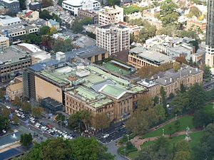 College Street, Sydney - An aerial photo of the Australian Museum with College Street running from mid-right to bottom left
