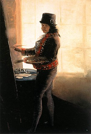 La Tauromaquia - Self - portrait, 1790 - 1795, oil on canvas, 42 × 28 cm. In this painting Goya depicts himself in a bullfighter's suit