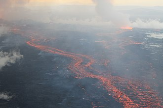 Flood basalt - Lava flows at Holuhraun, Iceland, September, 2014
