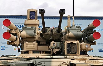 9M120 Ataka - The primary armaments of the BMPT include four Ataka-T missiles with two mounted on each side.