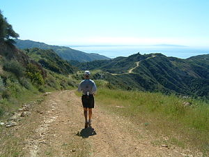 Trail running - The Backbone Trail, Santa Monica Mountains, southern California