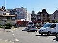 Bad Säckingen — Bergseestraße — Eisenbahnkreuzung der Straße (Schranke geschlossen).JPG