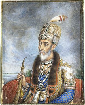 Crown of Bahadur Shah II -  Crown of the Bahadur Shah II, ca 1850 painting