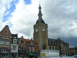 Bailleul, Nord - Market place and belfry of Bailleul