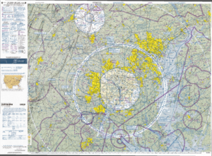 Lambert conformal conic projection - Aeronautical chart on Lambert conformal conic projection with standard parallels at 33°N and 45°N°.