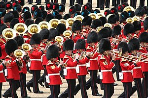 Military band - Massed bands at Trooping the Colour, London, 2007.