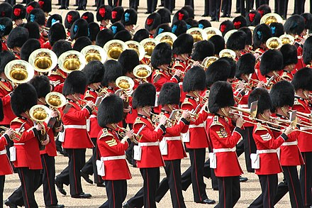 Massed bands of the British foot guards during the 2007 Trooping the Colour, an annual ceremony in which the military bands provide the music. Band Trooping the Colour, 16th June 2007.jpg