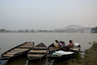 Bandel - Boats waiting in Hooghly river near Bandel