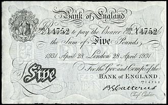 Basil G. Catterns - A Catterns signed £5 note of 1931.