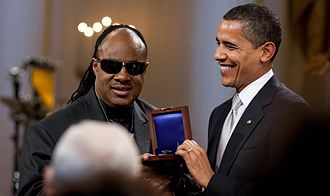 Gershwin Prize - Stevie Wonder receiving the Gershwin Prize at the White House