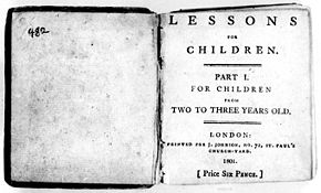 La page se lit ainsi : Lessons for Children. Part I. For Children from Two to Three Years Old. London: Printed for J. Johnson, No. 72, St. Paul's Church-Yard. 1801. [Price six Pence.] (Leçons pour les enfants. Première partie. Pour les enfants âgées de deux à trois ans. Londres : Imprimé pour J. Johnson, n° 72, Cimetierre de St Paul. 1801. [Prix six pence.]