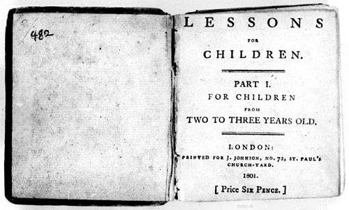 Title page from Lessons for Children of Three Years Old, Part I BarbauldLessons.jpg