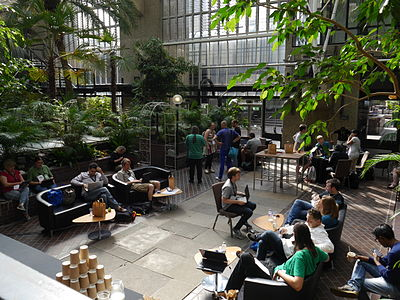 Barbican Conservatory at 4pm on day 2 of the Wikimania 2014 hackathon 04.jpg