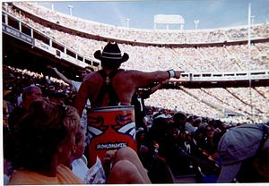 1998 Denver Broncos season - The Denver superfan Barrel Man seen at the regular season opener at Mile High Stadium against New England