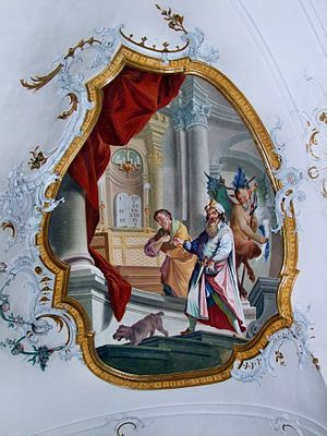Pharisee and the Publican - The Pharisee and the Publican, baroque fresco in Ottobeuren Basilica.