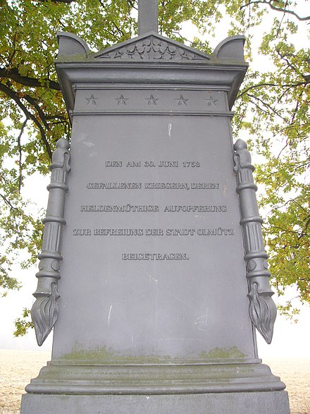 Writing on the memorial in German:  On 30 July 1758 to fallen warriors, whose brave feat helped to free Olomouc city. Battle of Domstadtl memorial detail.jpg