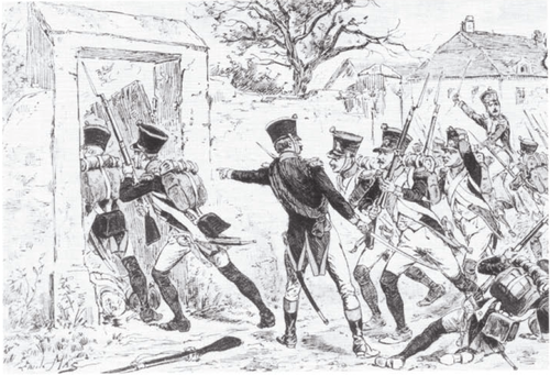 Soldiers of the 4th Line regiment storm Aderklaa. Battle of Wagram - 4th Line Regiment storms Aderklaa.png