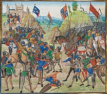 A colourful medieval image of a battle between French and English forces