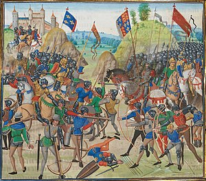 English longbow - A late 15th Century illustration of the Battle of Crécy. Anglo-Welsh longbowmen figure prominently in the foreground on the right, where they are driving away Italian mercenary crossbowmen.