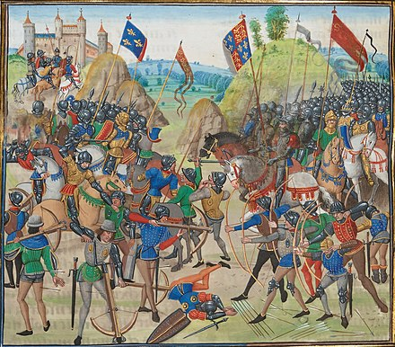 Battle of Crecy (1346) between the English and French in the Hundred Years' War. Battle of crecy froissart.jpg