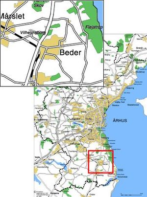 Beder, Denmark - Location of Beder, near Aarhus.