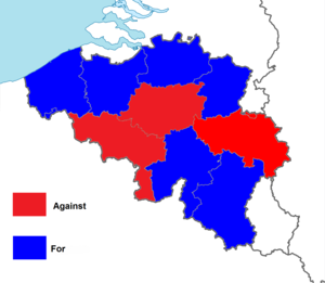 Belgian monarchy referendum, 1950 - Image: Belgian monarchy referendum, 1950 results by province