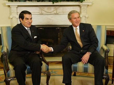 Meeting between Ben Ali and U.S. President George W. Bush, in 2004, at the White House Ben Ali, Bush, February 18, 2004.jpg