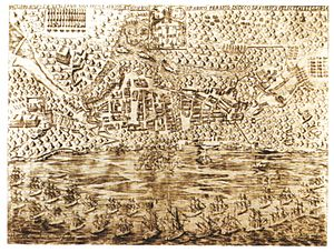 Recapture of Bahia - Engraving by Benedictus Mealius Lusitanus, in Jornada dos Vassalos da Coroa de Portugal, Lisbon, 1625.
