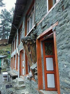 Chaurikharka - Damage following the April 2015 Nepal earthquake at Benkar, Chaurikharka on the way to Everest Base