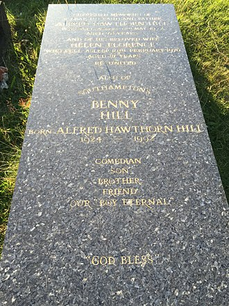 "Benny Hill - Marble slab covering the tomb of  Alfred Hawthorne ""Benny"" Hill."