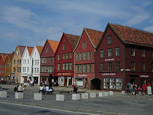 History of Norway - Bryggen in Bergen, once the center of trade in Norway under the Hanseatic League trade network, now preserved as a World Heritage Site