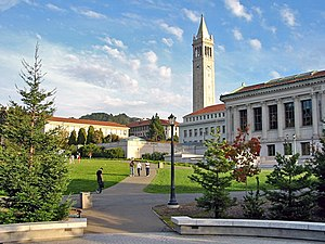 Memorial Glade and Sather Tower on the campus ...