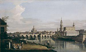 Dresden From the Right Bank of the Elbe Below the Augustus Bridge - Image: Bernardo Bellotto, il Canaletto Dresden vom rechten Elbufer unterhalb der Augustusbrücke (National Gallery of Ireland)