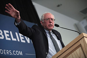 United States presidential election in New Hampshire, 2016 - Senator Bernie Sanders at a campaign event in Hooksett, New Hampshire.