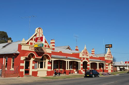 The Federal Hotel in Berrigan, one of a series of hotels built or renamed in the southern Riverina as a result of the Federation campaign BerriganFederalHotel2.JPG