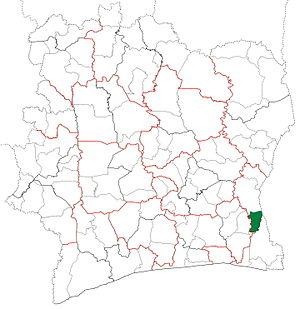 Bettié Department - Image: Bettié Department locator map Côte d'Ivoire