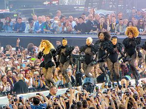"Formation (song) - Flanked by her dancers, Beyoncé performs ""Formation"" on The Formation World Tour in 2016"