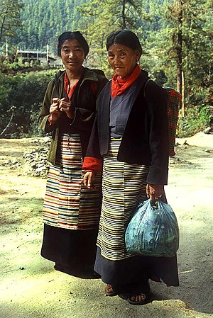 Culture of Bhutan - Bhutanese women of Tibetan descent in traditional clothing.