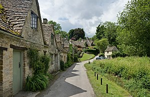 A row of cottages in Bibury, Cottswolds, England.