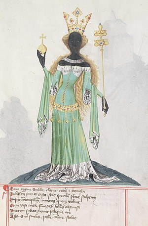 Queen of Sheba - The Queen of Sheba, from a 15th-century manuscript now at Staats- und Universitätsbibliothek Göttingen