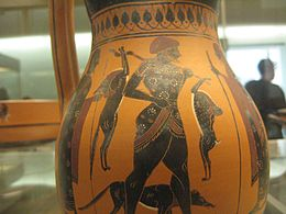 Black Figured Olpe depicting the return of a hunter and his dog.jpg