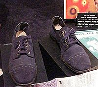 Blue suede shoes similar to those that inspired the song of the same name.