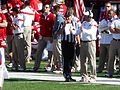 Bo Pelini talking to an official (Nebraska vs. Rutgers, 2014).jpg