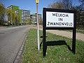 Bord Welkom in Zwanenveld.JPG