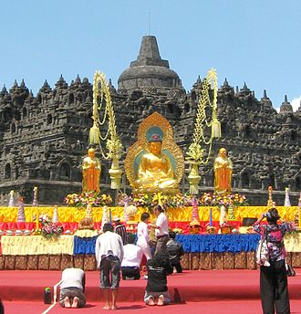 Buddhism in Indonesia - National vesak ceremony in Borobudur, Central Java.