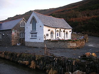 Boscastle flood of 2004 - The rebuilt Harbour Light in October 2006, now used as tea rooms. The shop is over the river.