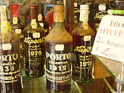 Bottles of tawny Port wine in Lisbon